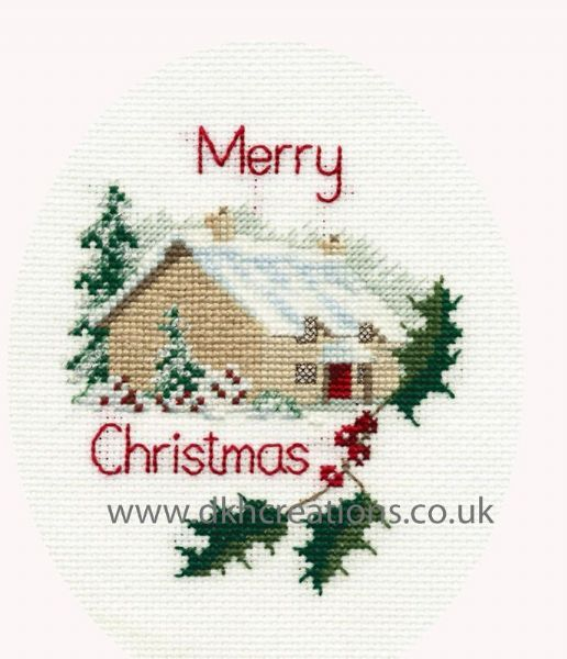 Christmas Cottage  Card Cross Stitch Kit